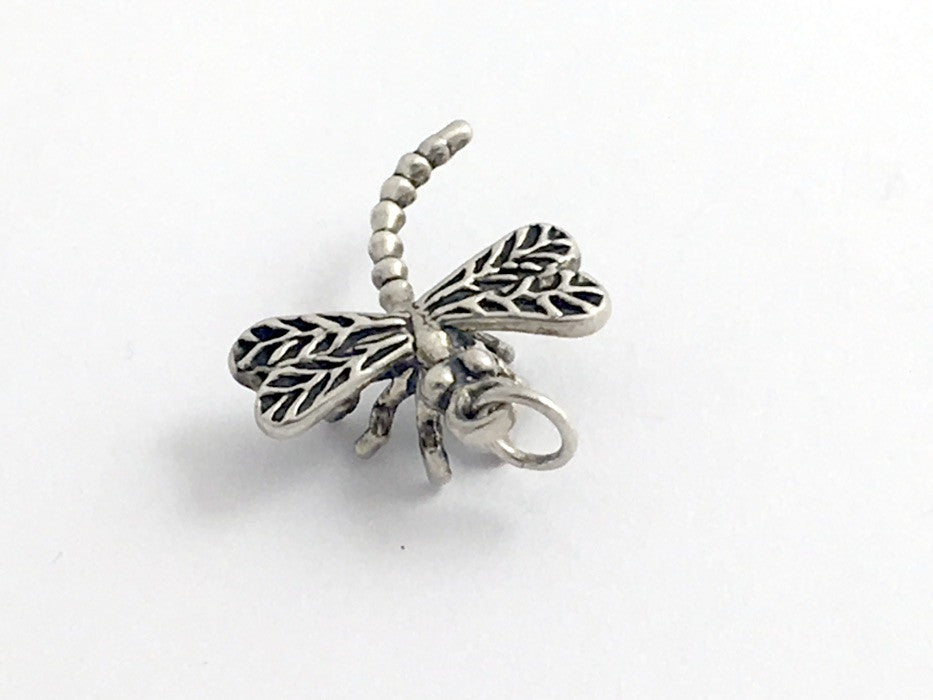 Sterling Silver sweet 3-D Dragonfly charm or pendant- dragonflies, insect,