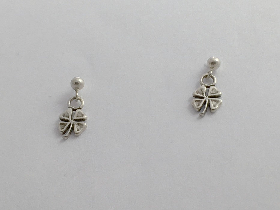 Sterling silver 3mm ball stud with tiny 4 leaf clover dangle earrings- four,luck