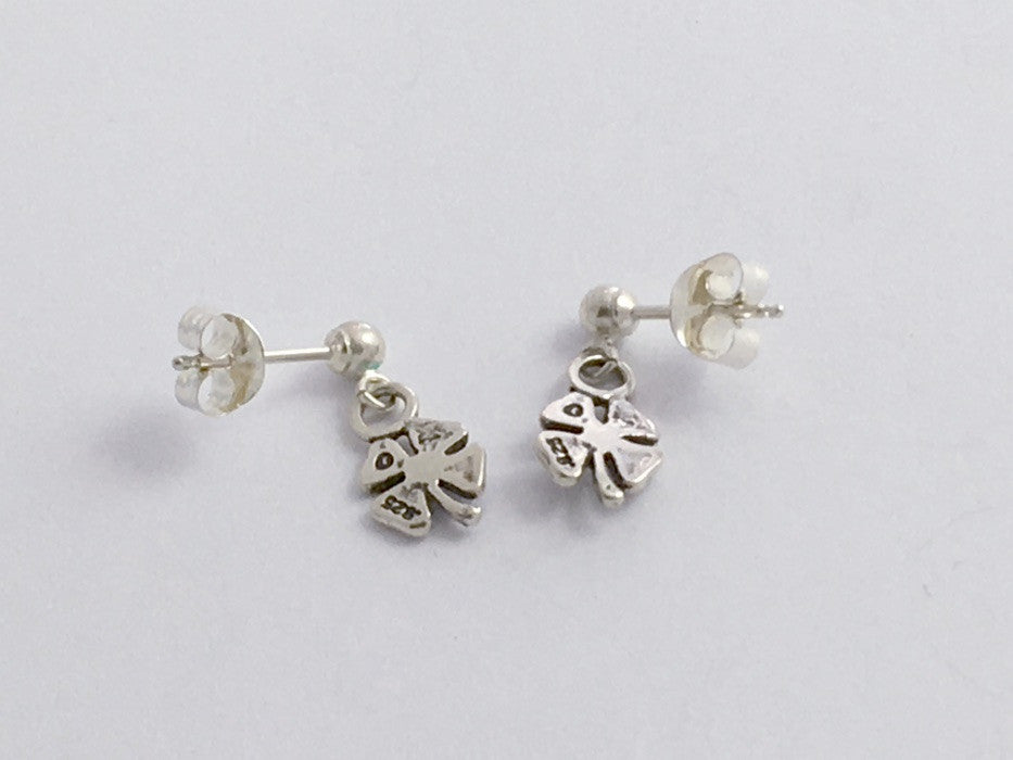 e7a082a0d Sterling silver 3mm ball stud with tiny 4 leaf clover dangle earrings- four ,luck