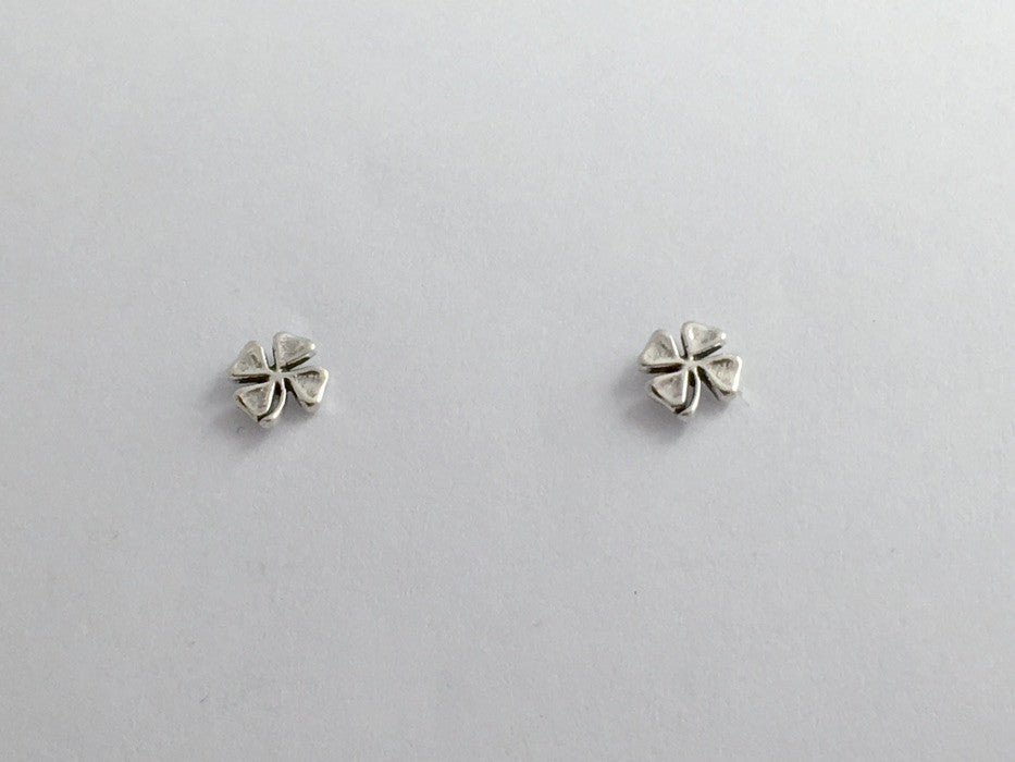Sterling Silver & Surgical Steel 4 leaf clover stud earrings- four- luck-clovers