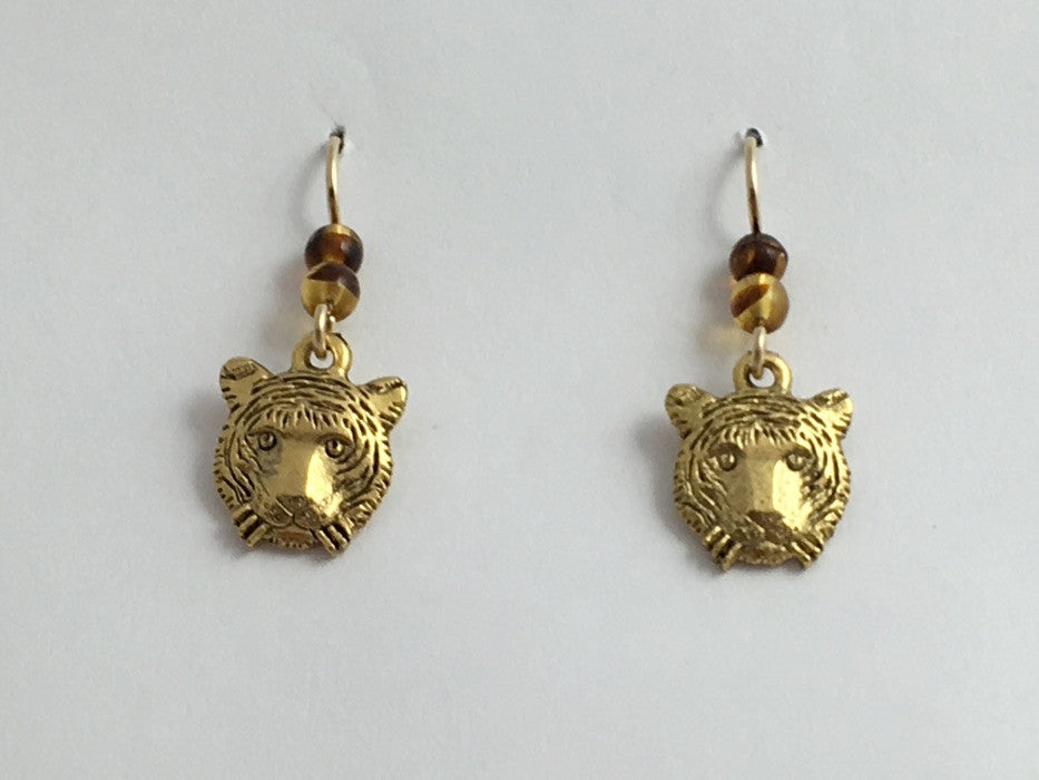 Gold tone Pewter & 14k GF  Tiger face dangle earrings-Tigers, head, big cat