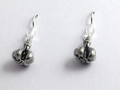 Pewter & Sterling Silver Garlic bulb dangle Earrings-clove,chef, vampire, cloves