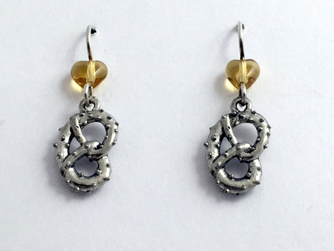 Pewter & Sterling silver soft pretzel dangle Earrings- Philly, pretzels, hearts