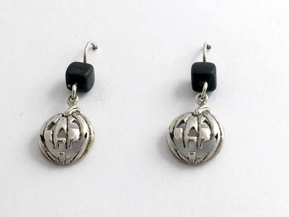 Sterling silver Jack O' Lantern dangle earring-Halloween,pumpkins,pumpkin,black