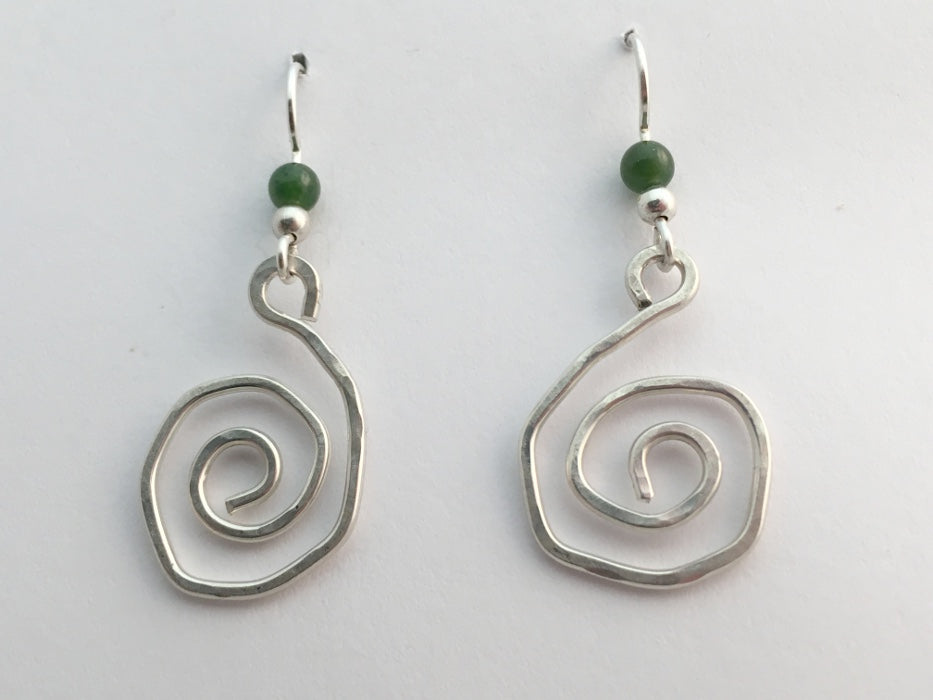 Sterling Silver funky hammered open Spiral  Earrings-dangle, spirals, Jade