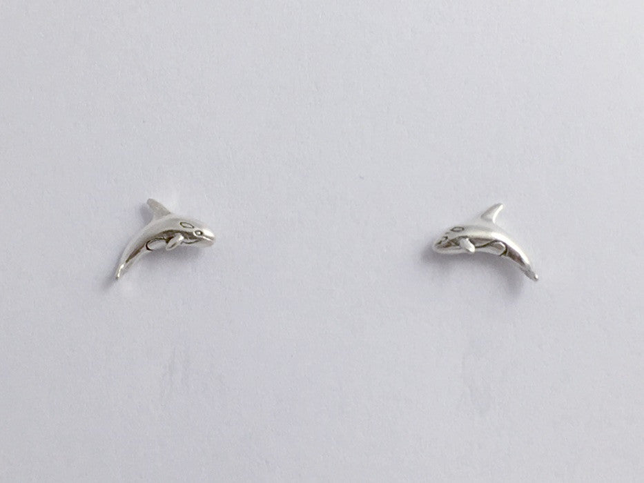 Sterling Silver & Surgical Steel orca,  killer whale stud earrings-ocean, sea