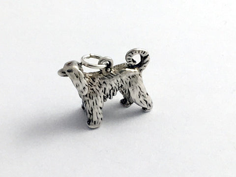 Sterling Silver Afghan Hound dog charm or pendant- Afghans, dogs, canine, Sight