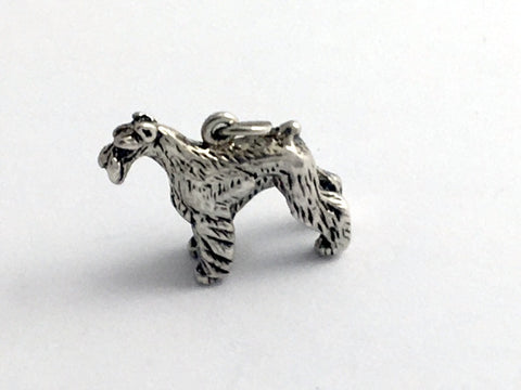 Sterling Silver 3-D  Schnauzer dog charm or pendant- Schnauzers, dogs, canine