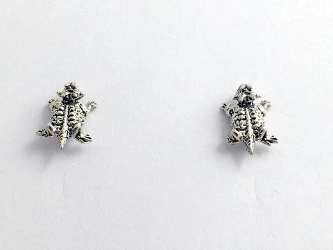 Sterling Silver and Surgical Steel horned toad stud earrings- lizards, lizard