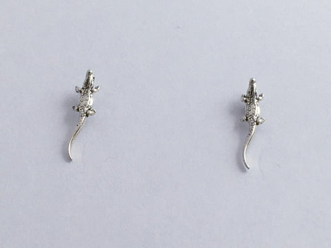 Sterling Silver & Surgical Steel  alligator or crocodile stud earrings-gators
