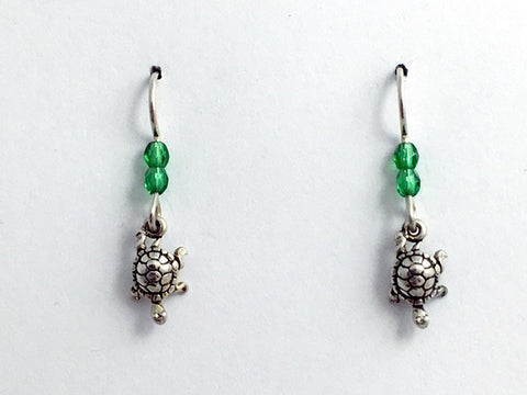 Sterling silver tiny crawling turtle dangle earrings-tortoise, turtles, glass