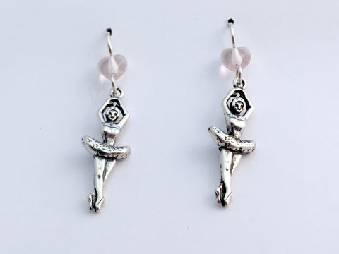 Sterling Silver Ballet Dancer in tutu dangle earrings-en pointe-dance, toe shoes