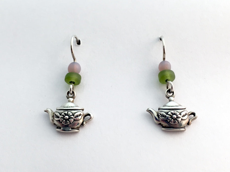 Sterling silver small Teapot w/flower dangle earrings-Tea, teapots, pots, pot