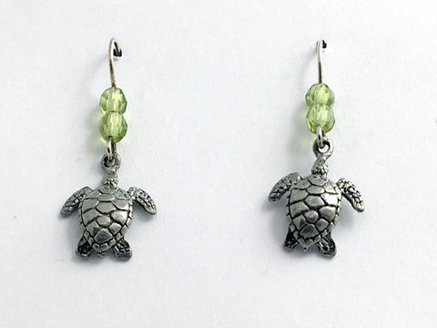 Pewter & Sterling silver medium sea turtle earrings-ocean -turtles, reptile,