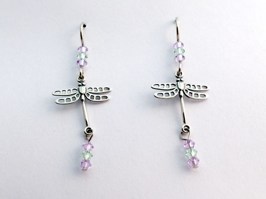 Sterling silver dragonfly dangle earrings-insects-pastel crystal, dragonflies