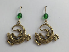 Goldtone Pewter &  14k GF large circled lizard dangle earrings- glass, lizards