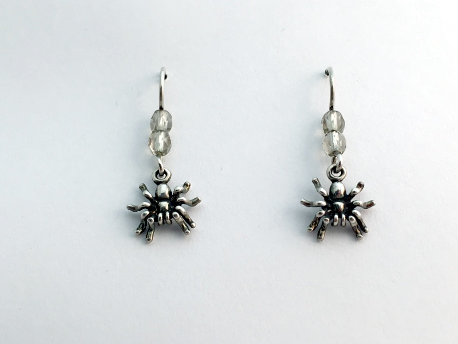 Sterling silver small spider dangle earrings-insects-garden-arachnid, spiders,