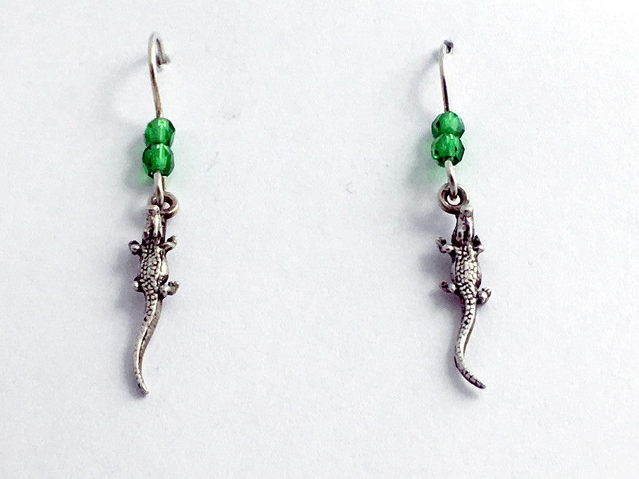 Sterling silver tiny alligator or crocodile dangle earrings- swamp, gator, croc