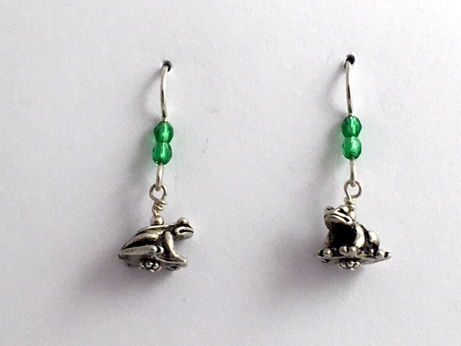 Pewter & Sterling silver 3-D frog dangle earrings- glass-toad, frogs, toads