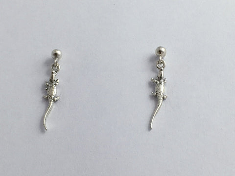 Sterling silver 3mm ball stud w/ tiny alligator or crocodile dangle earrings