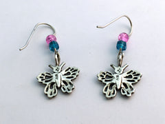 Sterling silver butterfly earrings- insects-pink glass- butterflies, Lepidoptera