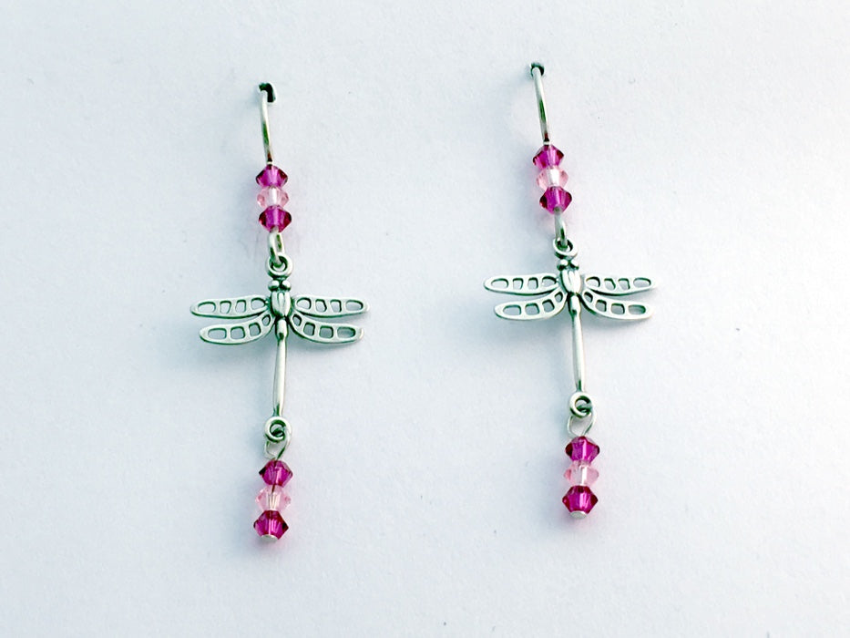 Sterling silver dragonfly dangle earrings-insects- pink crystal, dragonflies