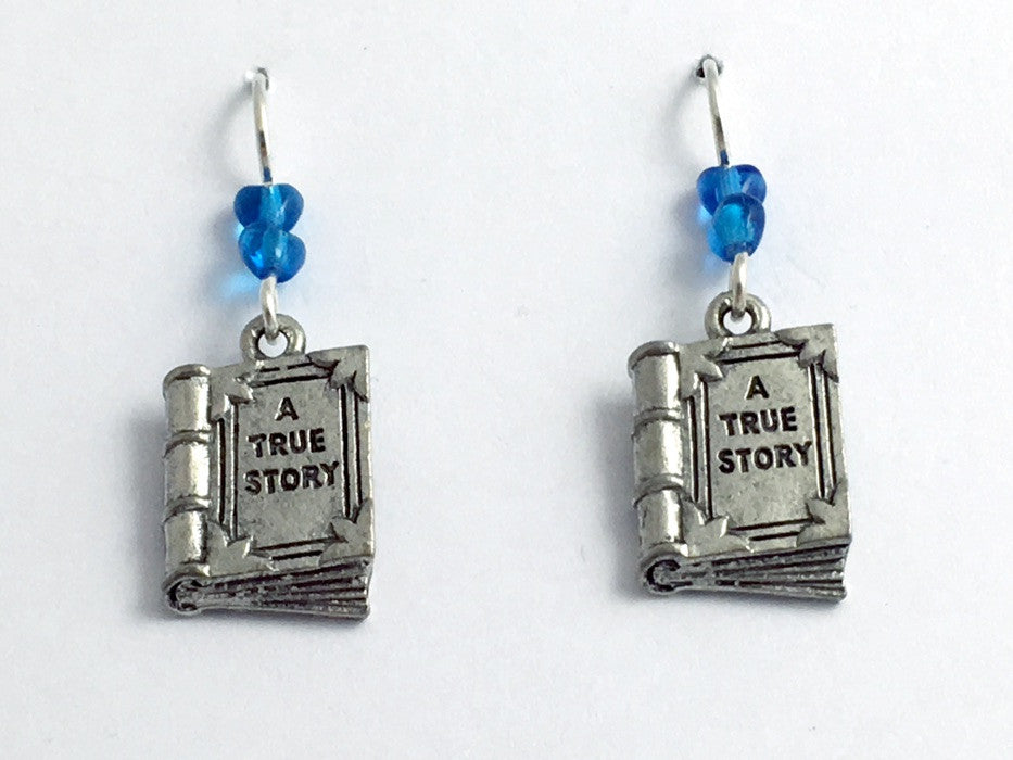 Pewter & Sterling Silver  Book dangle Earrings-Librarian-reader-author, books