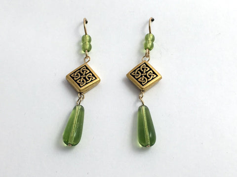 Gold tone Pewter & 14kgf Celtic Knot dangle earrings- green glass, knots, 2 1/4""