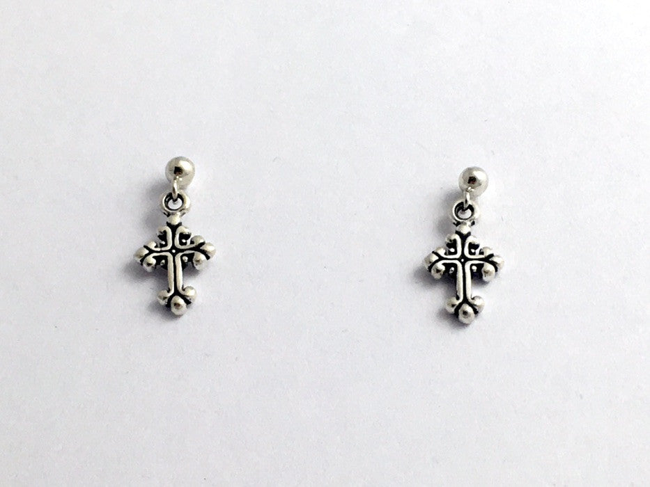 Sterling silver 3mm ball stud with tiny  fancy cross dangle earrings-religion