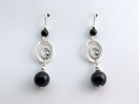 Sterling silver Double Textured Oval dangle earrings-black onyx dangle, Hook