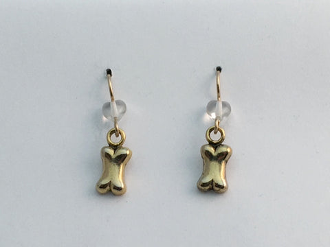 Gold Tone Pewter Dog Bone dangle Earrings-14k gf earwires, canine, dogs, bones