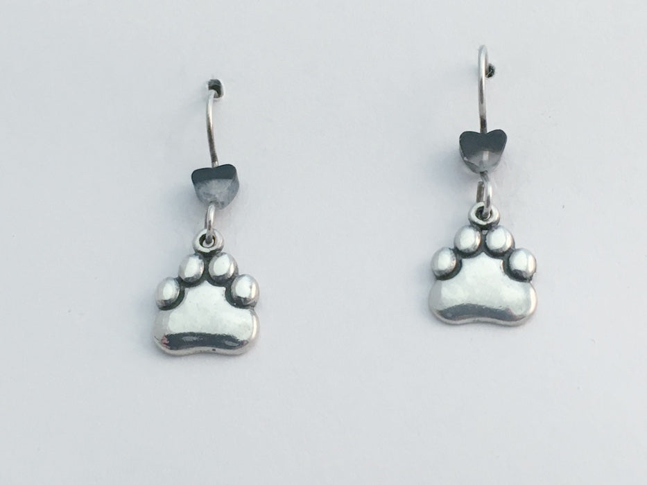 Sterling silver smooth medium paw print earring-dog, cat, paws, dogs, cats, team