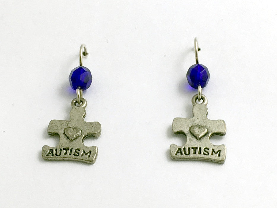 Pewter and Sterling silver autism puzzle piece dangle earrings- cobalt blue