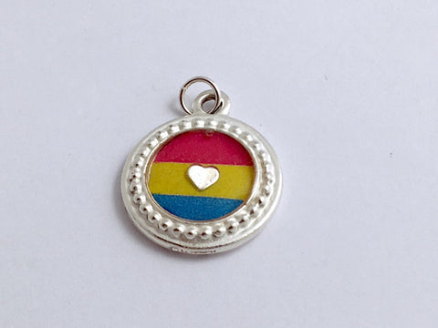 Round Pewter Pansexual flag & sterling silver Heart pendant-resin, Pride,LGBTQ