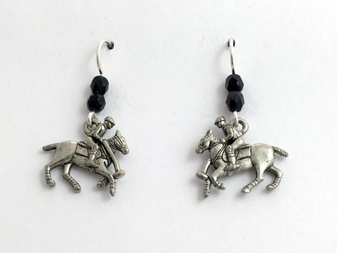 Pewter & Sterling Silver Polo player ,horse dangle earrings- equine, horses-pony