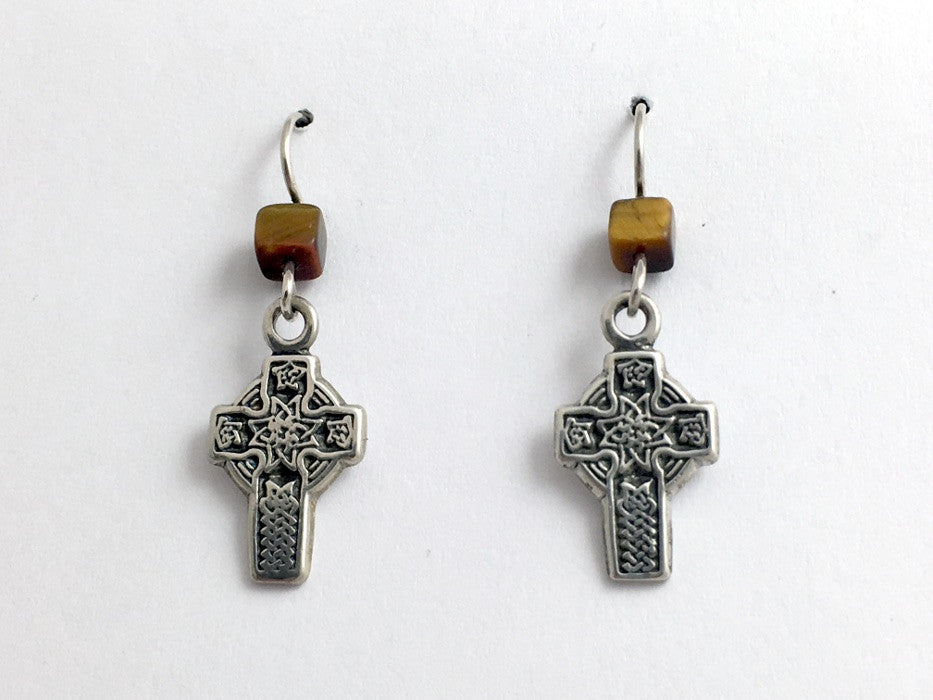 Sterling silver  Celtic knot cross dangle earrings- Tiger eye, knots, faith
