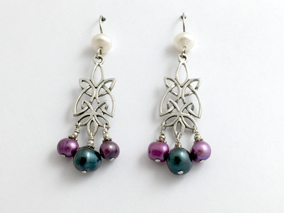 Sterling Silver long Celtic Knot Earrings-colored freshwater pearls-unusual