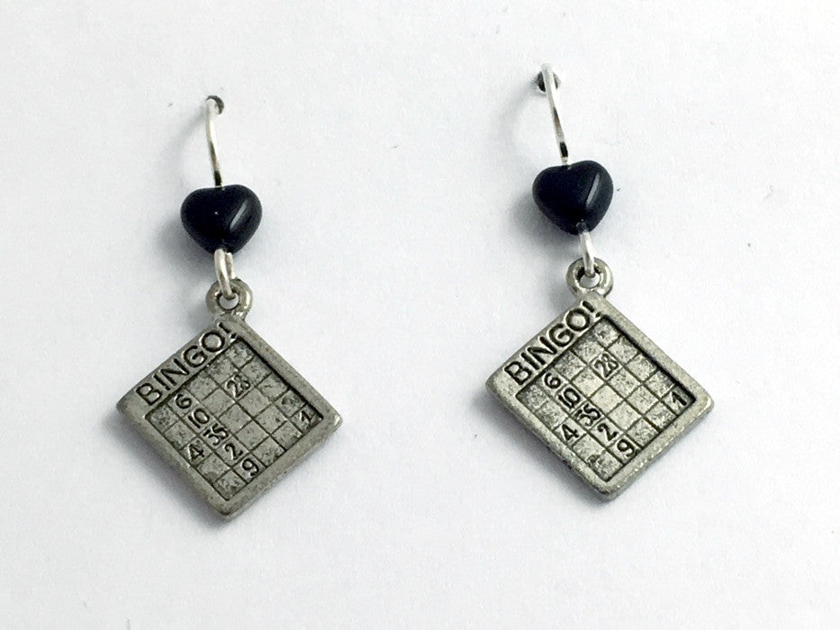 Pewter & Sterling Silver Bingo card dangle Earrings- game, lucky, numbers, luck