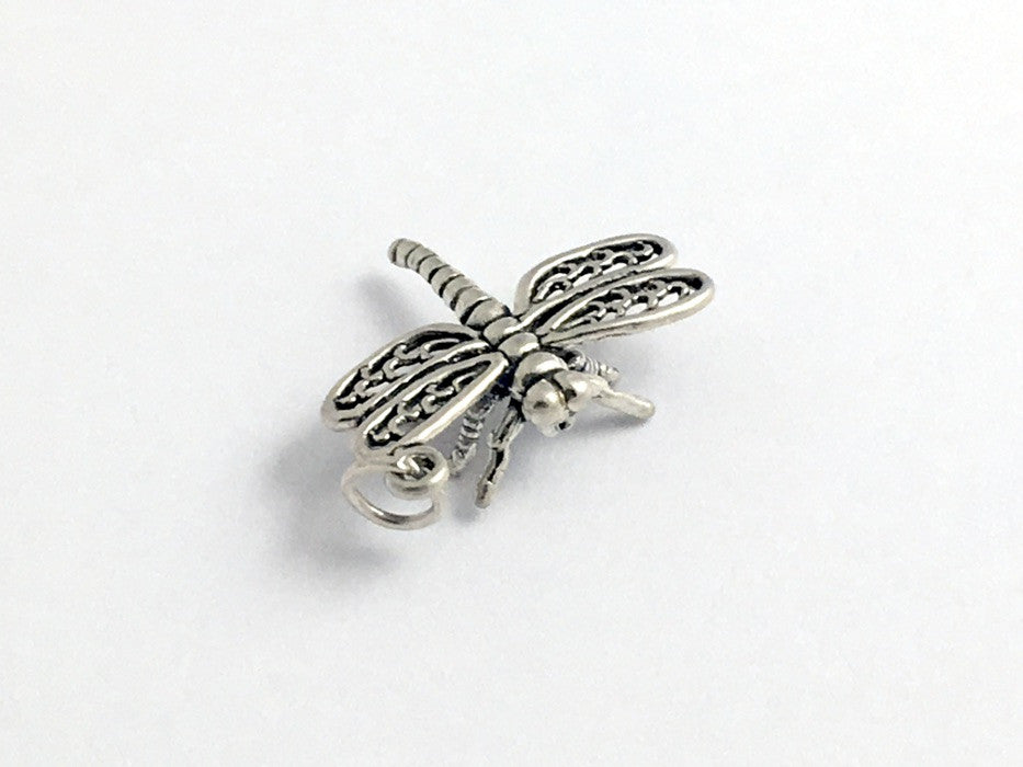 Sterling Silver large 3-D Dragonfly charm or pendant- dragonflies, insect,