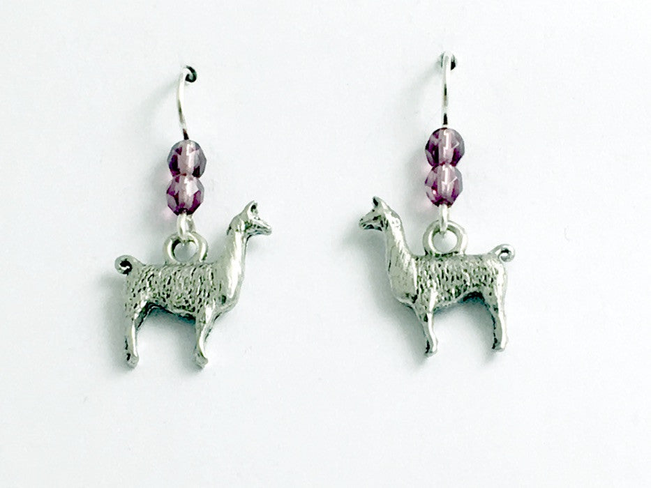 Pewter & Sterling silver llama dangle earrings-alpaca, Andes, Peru, Llamas,