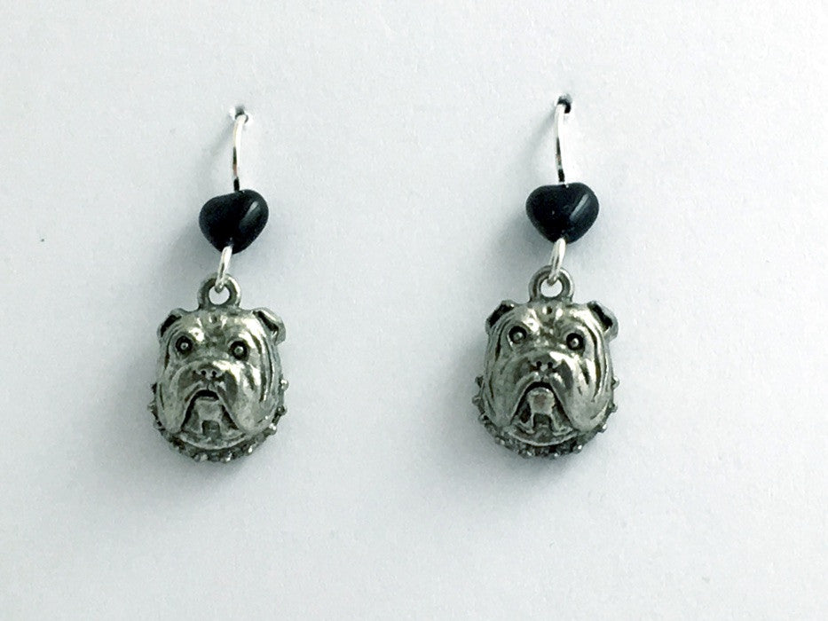 Pewter & sterling silver English Bull dog face earrings- Bulldog, dogs, canine
