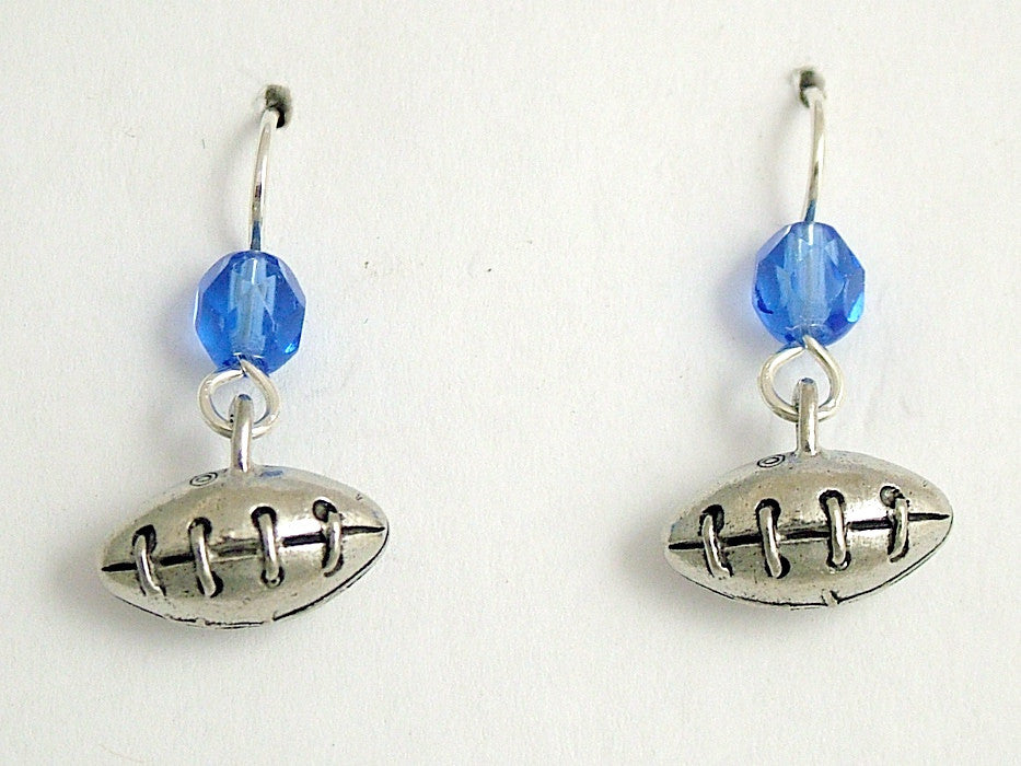 Pewter & sterling silver 3-D Football dangle earrings- team colors, ball, footballs