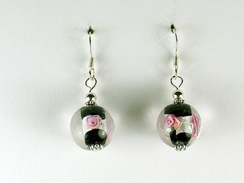 Black,clear,pink flower round silver foil glass dangle earrings- sterling silver