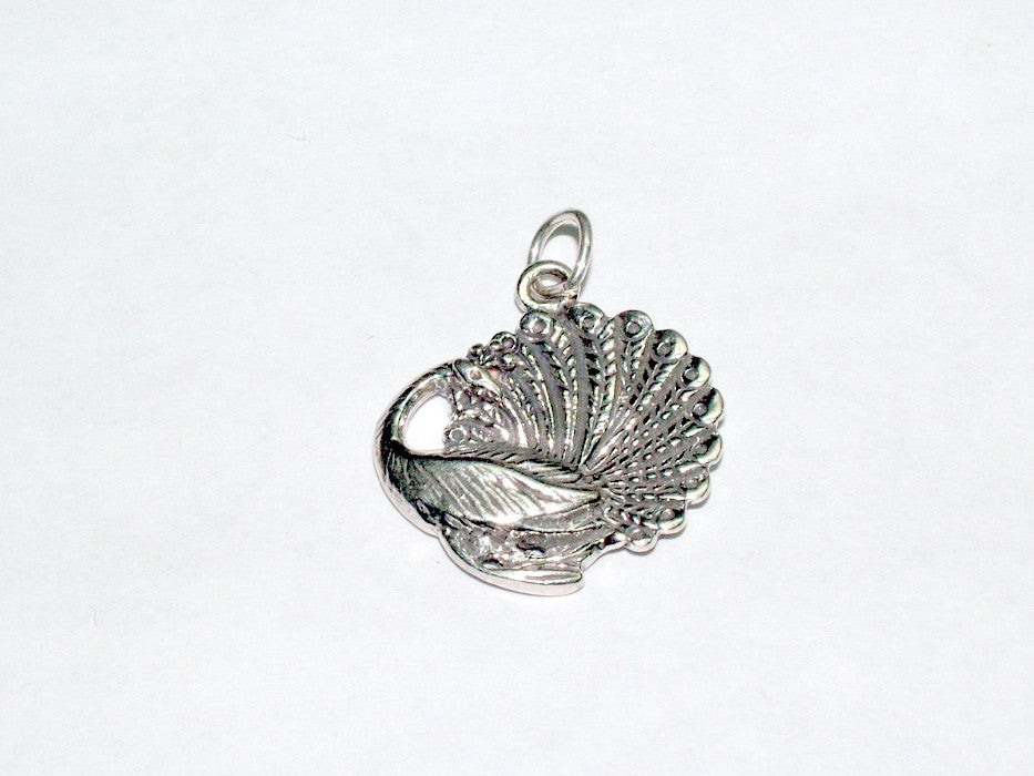 Sterling Silver Peacock charm or pendant- peafowl, bird, plumage,