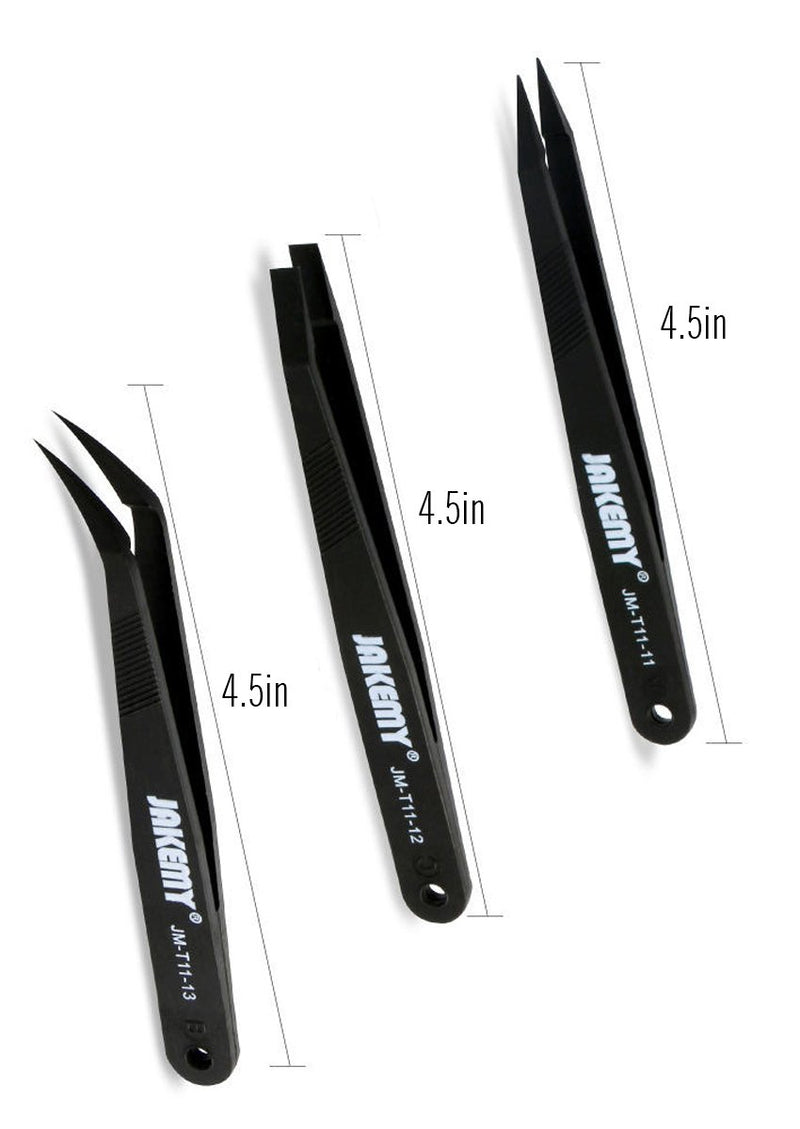 JAKEMY JM-T11 3in1 Professional Anti-static Tweezers Kit