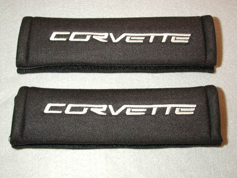 "Shoulder Belt Covers with ""Corvette"" embroidered lettering GM License product / Product Number: A104"
