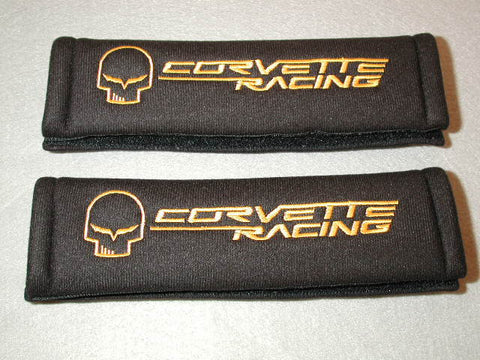 "Shoulder Belt Covers with ""Jake"" skull/Corvette Racing Logo GM License product / Product Number: A105"