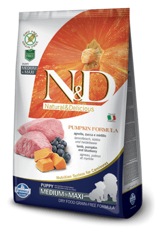 N&D Grain-Free Pumpkin, Lamb & Blueberry Puppy Medium & Maxi Breed - Barks and Licks