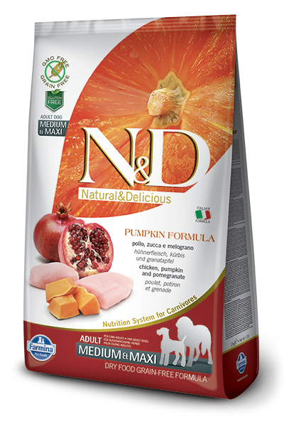 N&D Grain-Free Pumpkin, Chicken & Pomegranate Adult Medium & Maxi Breed - Barks and Licks