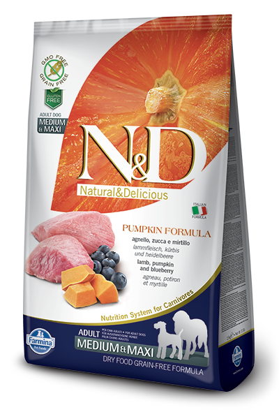 N&D Grain-Free Pumpkin Lamb & Blueberry Adult Medium & Maxi Breed - Barks and Licks